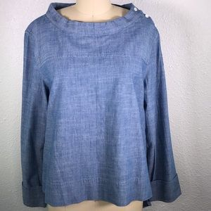 J. Crew Button Shoulder High Low Chambray Shirt